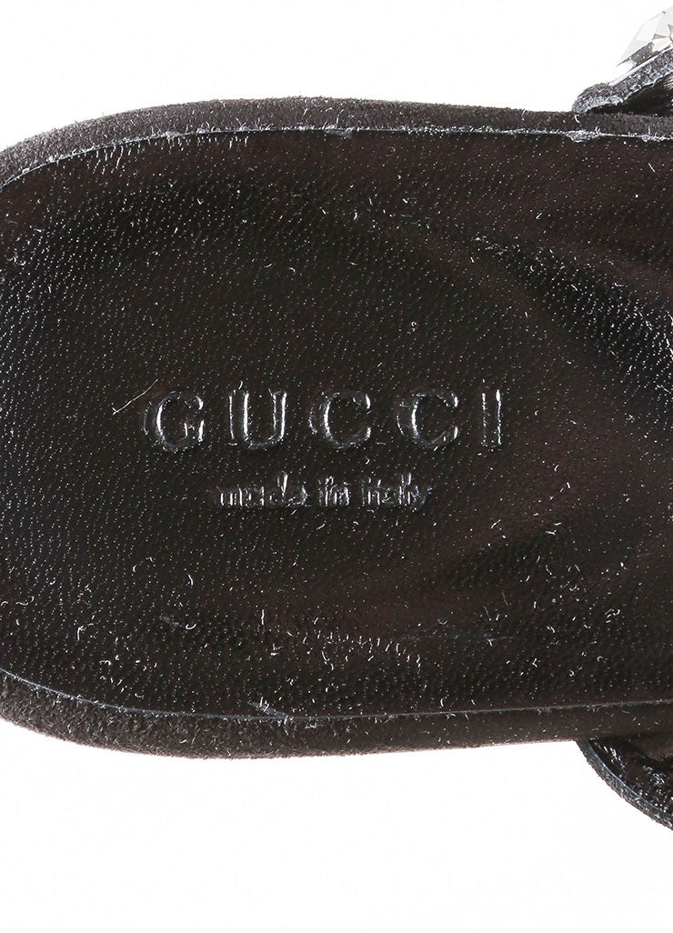 Gucci Black Suede Crystal Jeweled Thong Sandals Brand