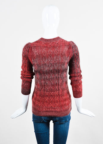 Red and Grey Gucci Mohair, Silk, and Wool Cable Knit Sweater Backview