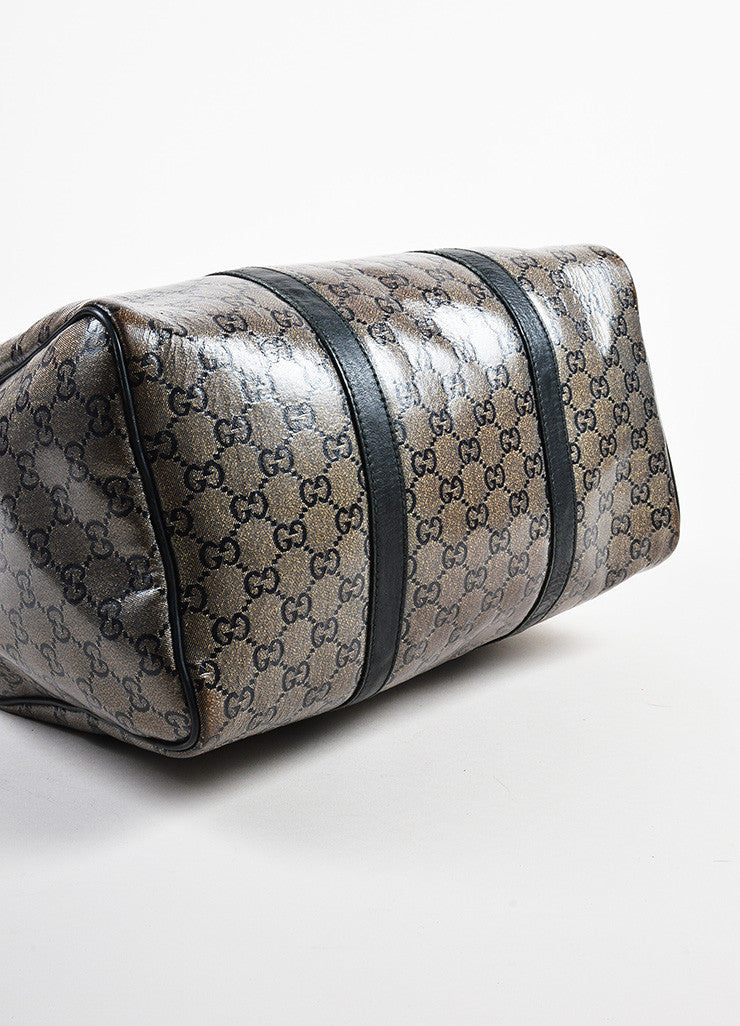 "Taupe Navy Gold Gucci Coated Canvas Leather Monogram ""Joy Boston"" Bag Detail"
