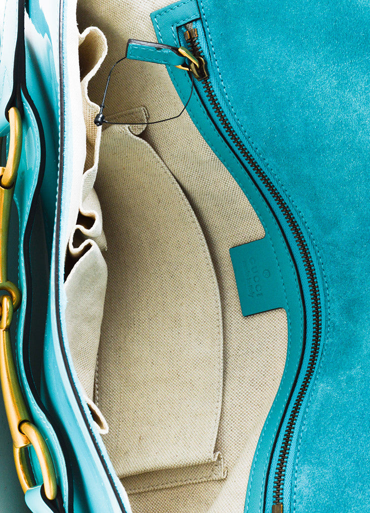 "Gucci Turquoise Patent Leather Gold Toned Horsebit Flap ""Bright Bit"" Clutch Bag Interior"
