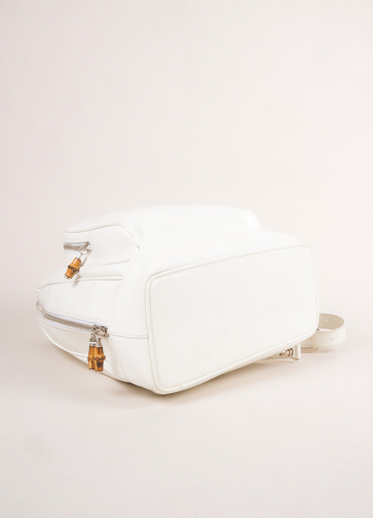 Gucci White Leather Slingback Bamboo Backpack Bottom View