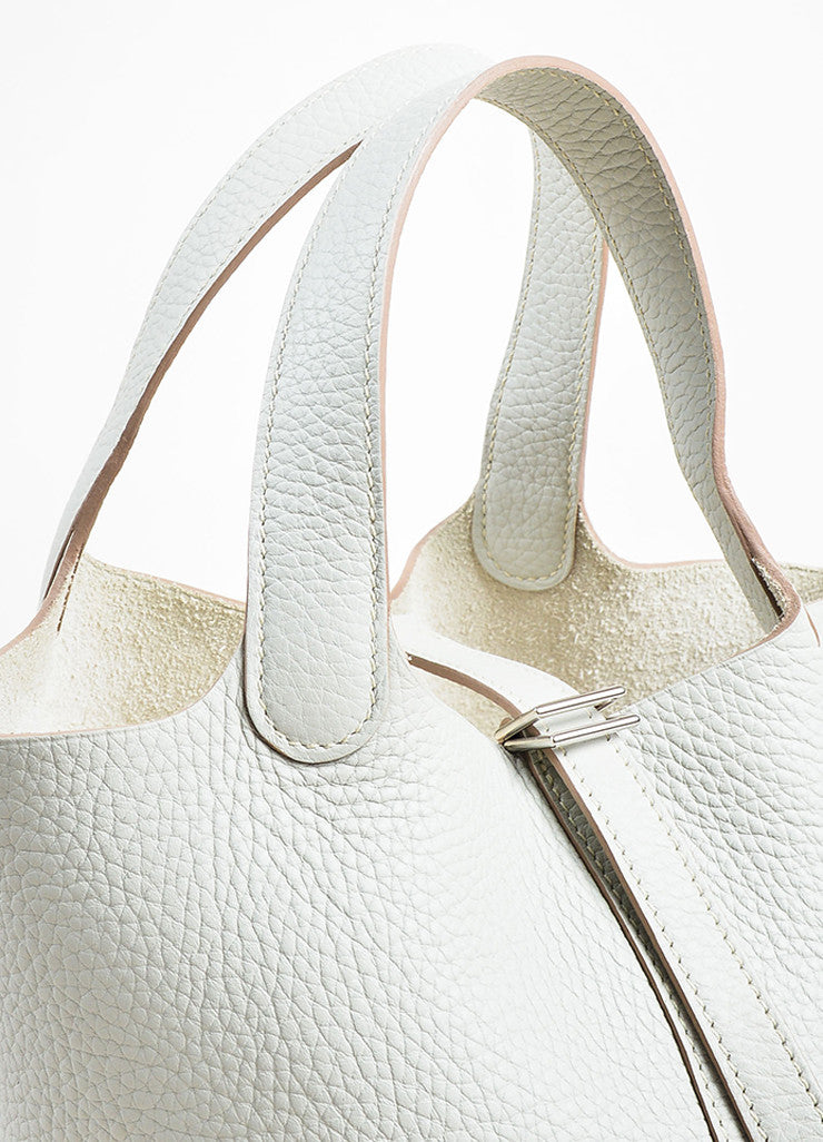 "Hermes Etoupe Grey Taurillon Clemence Leather ""Picotin Lock PM"" Tote Bag Detail 2"
