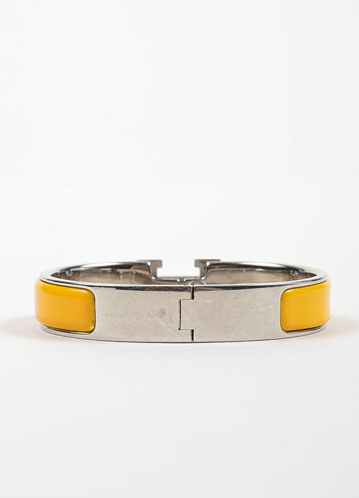 "Silver Toned and Yellow Enamel Hermes ""Clic H PM"" Hinged Narrow Bangle Bracelet Backview"