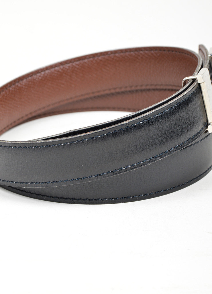 "Black and Brown Leather Reversible Hermes ""Constance"" Belt Sideview"