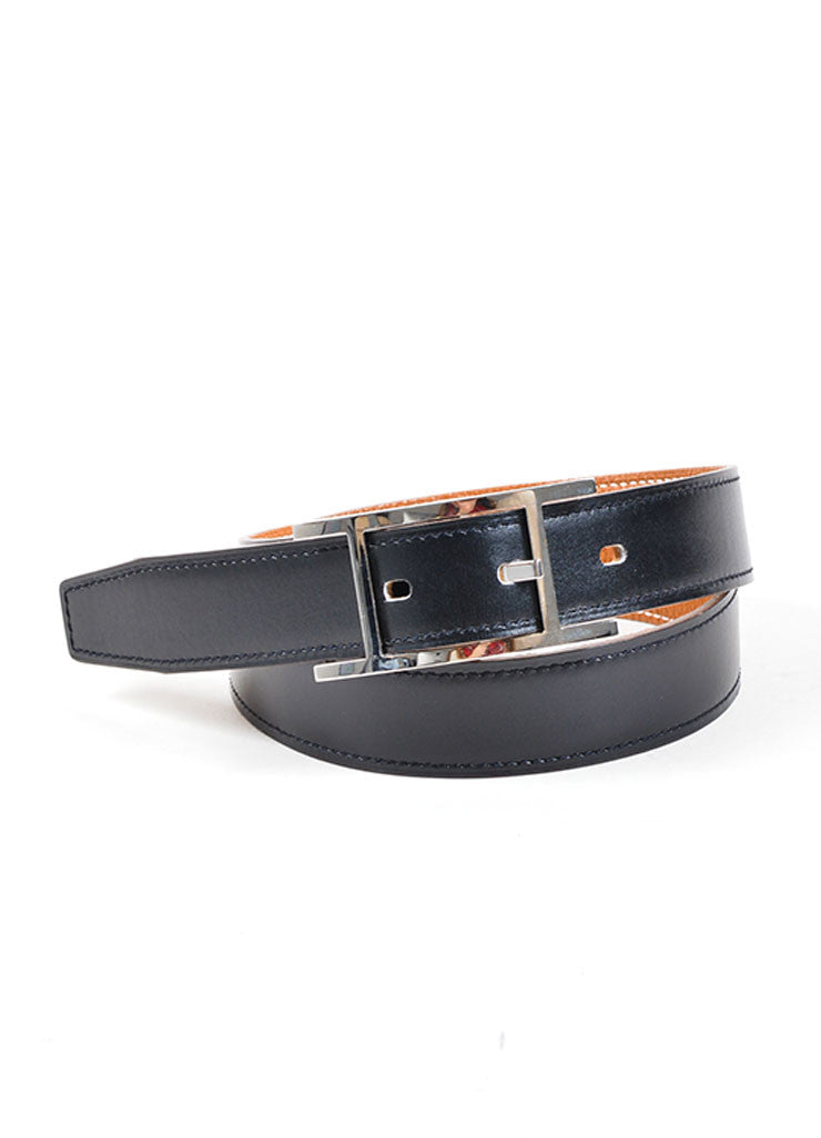 "Black and Silver Toned Leather Hermes ""Hapi"" Belt Frontview"