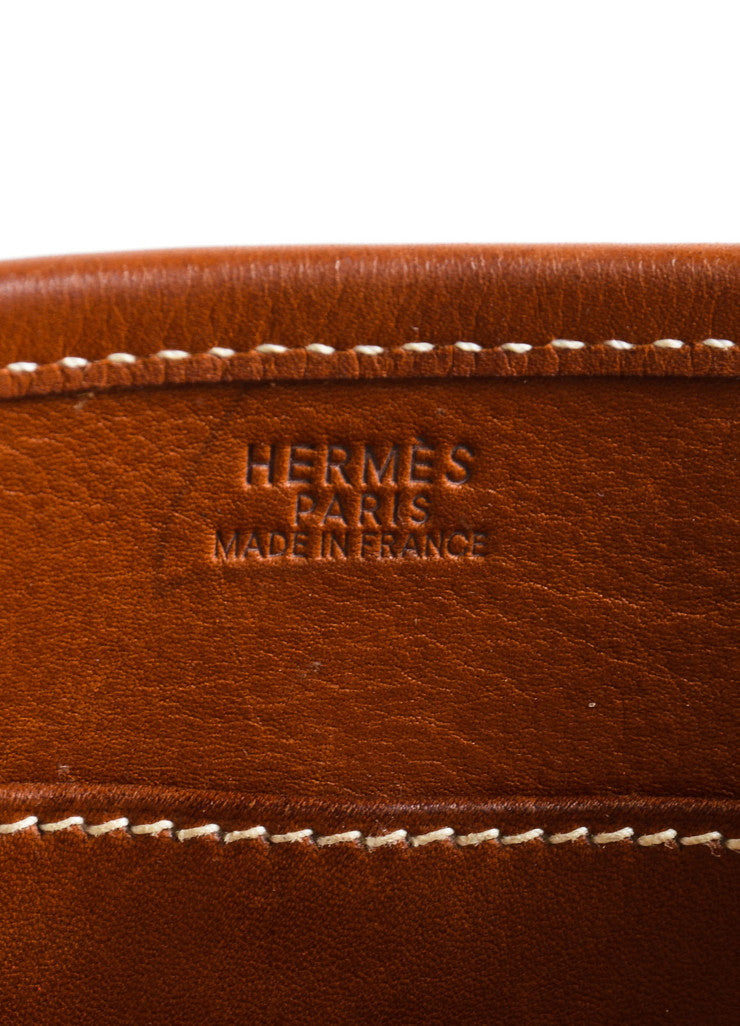 Hermes Cream Brown Canvas Leather 'H'Logo Crossbody Bag Brand