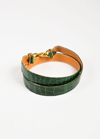 "Hermes Green and Gold Toned Alligator Leather ""Chaine D'Ancre"" Belt Backview"