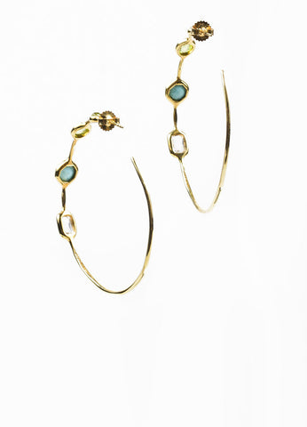 "18K Yellow Gold, Tuquoise, Green Topaz, and Quartz Ippolita ""Rock Candy"" Hoop Earrings Sideview"
