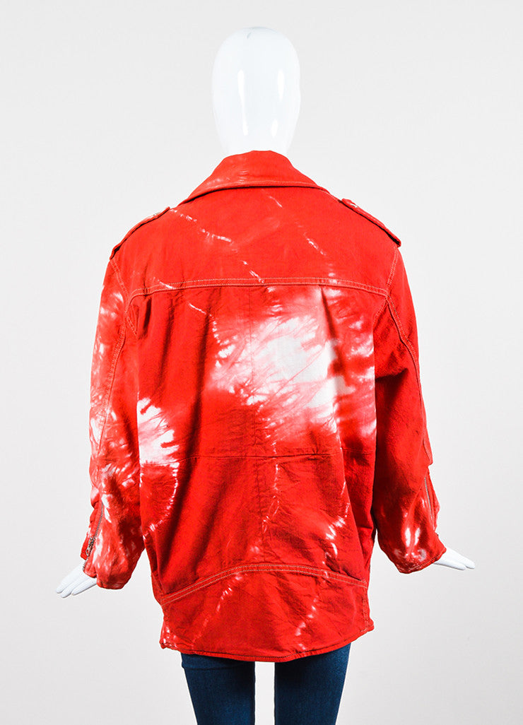 "Red and White Isabel Marant Stretch Cotton Denim Tie Dye Moto ""Idini"" Jacket Backview"