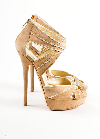 Beige and Metallic Gold Jimmy Choo Suede Piped Ultra High Platform Sandals Sideview