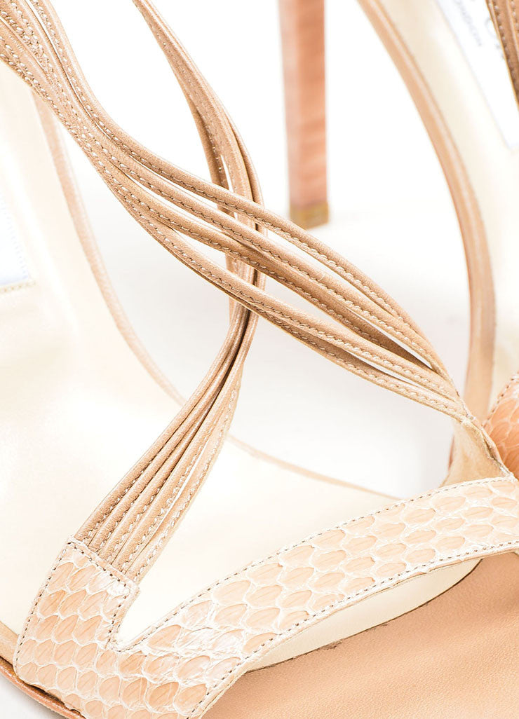 """Foundation"" Nude Snakeskin Leather High Heel Jimmy Choo ""Cat"" Sandals Detail"