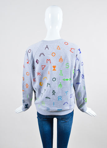 Grey and Multicolor Kenzo Embroidered Symbols Sweatshirt Backview