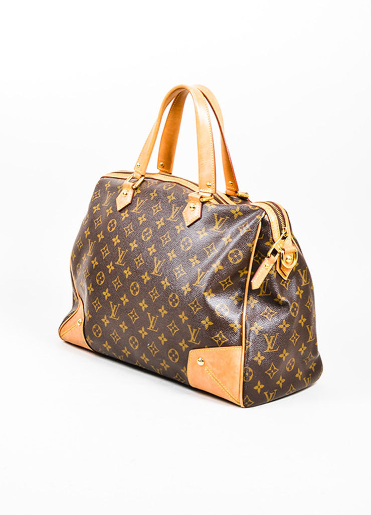 "Brown Louis Vuitton Monogram Canvas and Leather ""Retiro GM"" 2 Way Bag Sideview"