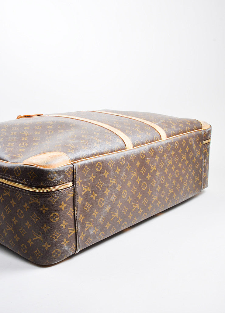 "Brown and Tan Louis Vuitton Monogram Canvas ""Sirius 70"" Suitcase Bottom View"