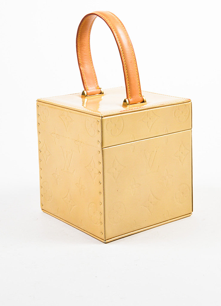 "Louis Vuitton Beige Vernis Patent Leather Monogram ""Bleecker"" Mini Cube Bag Sideview"