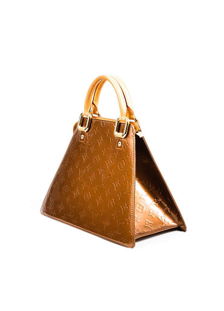 "Bronze Louis Vuitton Monogram Vernis ""Forsyth GM"" Geometric Tote Bag Sideview"