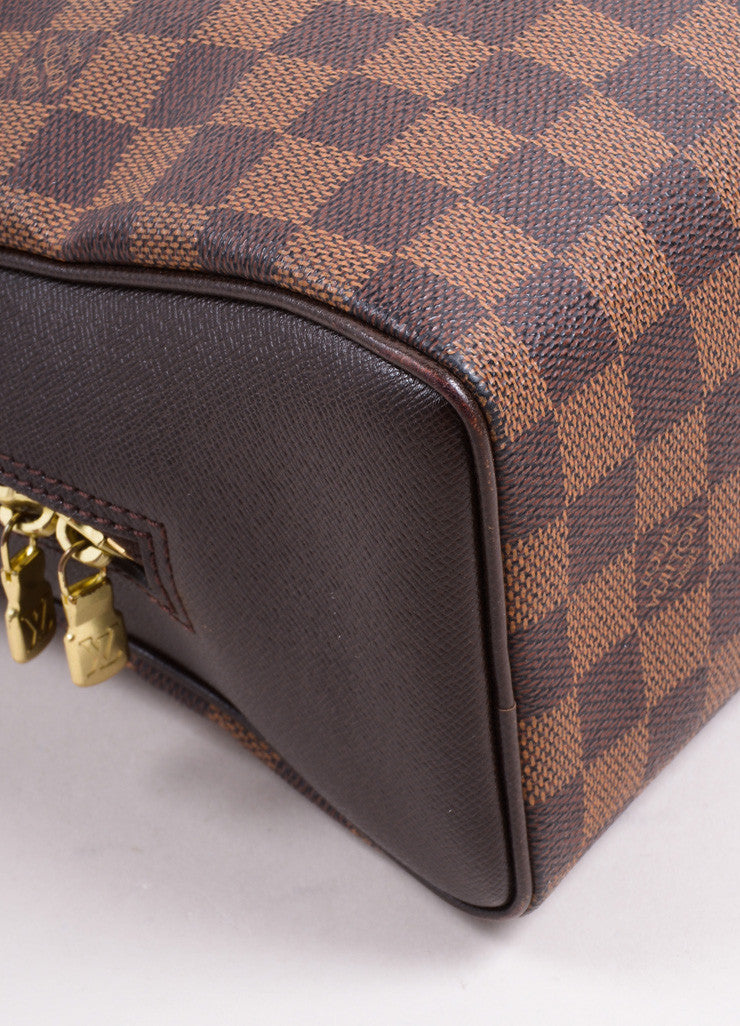 "Louis Vuitton Brown Canvas and Leather Checkered ""Damier Ebene Brera"" Tote Bag Detail"