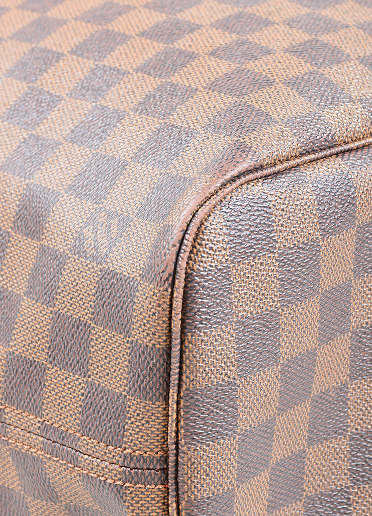 "Louis Vuitton Brown Coated Canvas ""Damier"" Tote Handbag Detail"