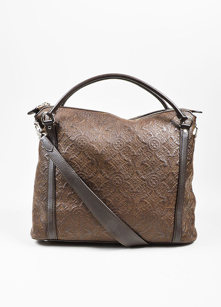 "Brown Louis Vuitton Leather Stitched Monogram ""Antheia Ixia MM"" Tote Bag Frontview"