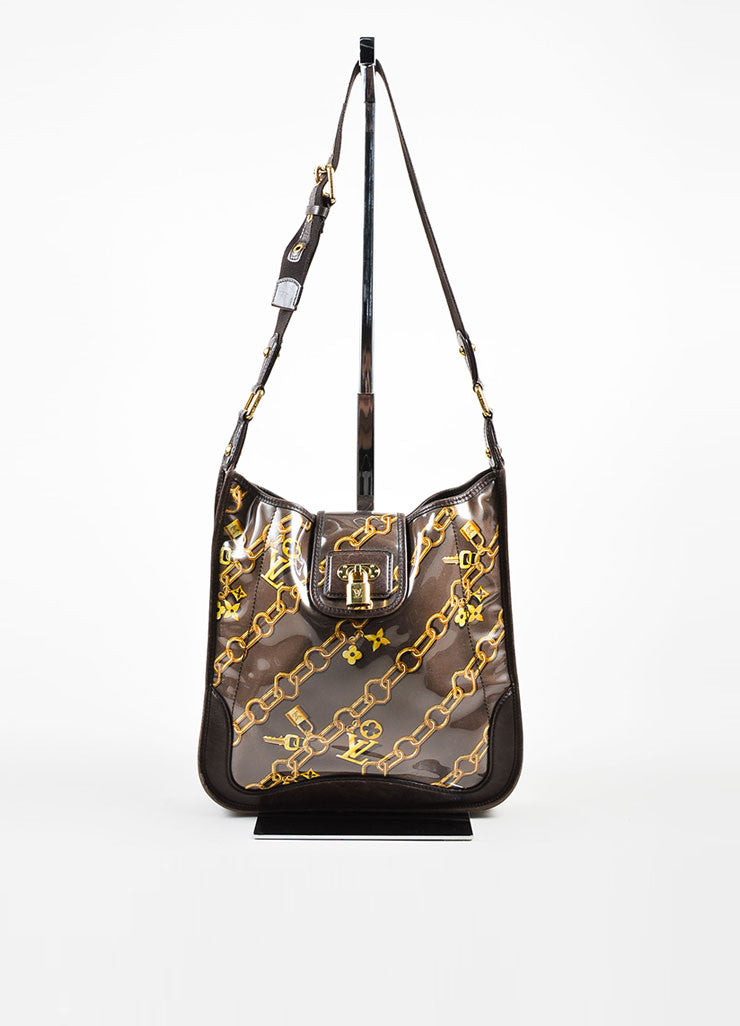 "Brown Louis Vuitton Vinyl and Leather Charms Chain Print ""Musette"" Cross Body Bag Frontview"