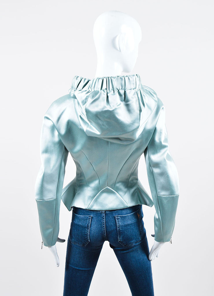 Powder Blue Louis Vuitton Silk Hooded Peplum Jacket Back