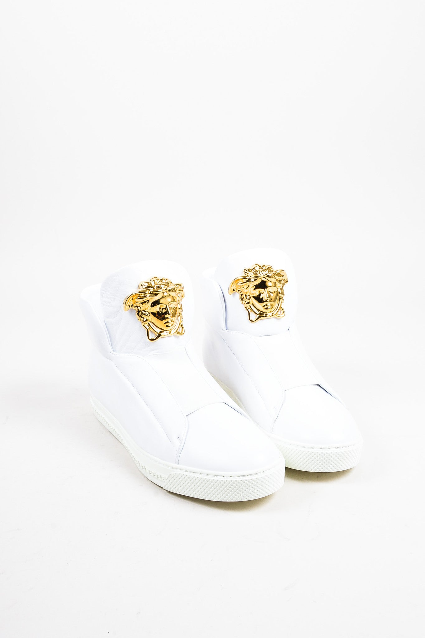 "Men's Versace White Leather Gold Toned Medusa ""Palazzo Idol"" Sneakers  Frontview"