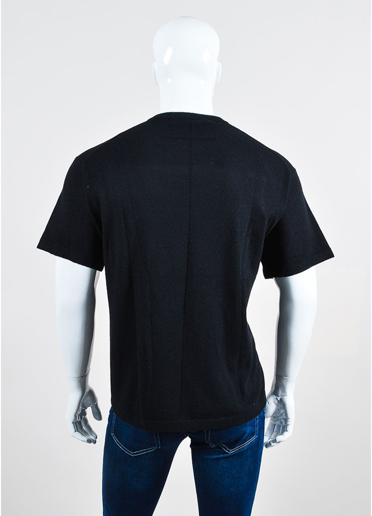 Men's Givenchy Black and Grey Wool Statue Print Short Sleeve Sweatshirt Backview