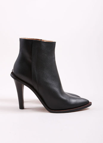 Maison Martin Margiela Black Leather Pointed Toe Stacked Heel Ankle Boots Sideview