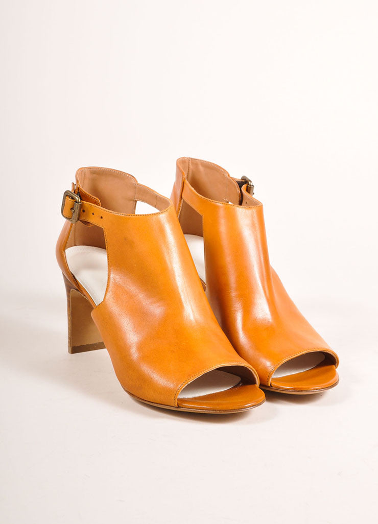 Maison Martin Margiela New In Box Cognac Leather Cut Out Booties Frontview