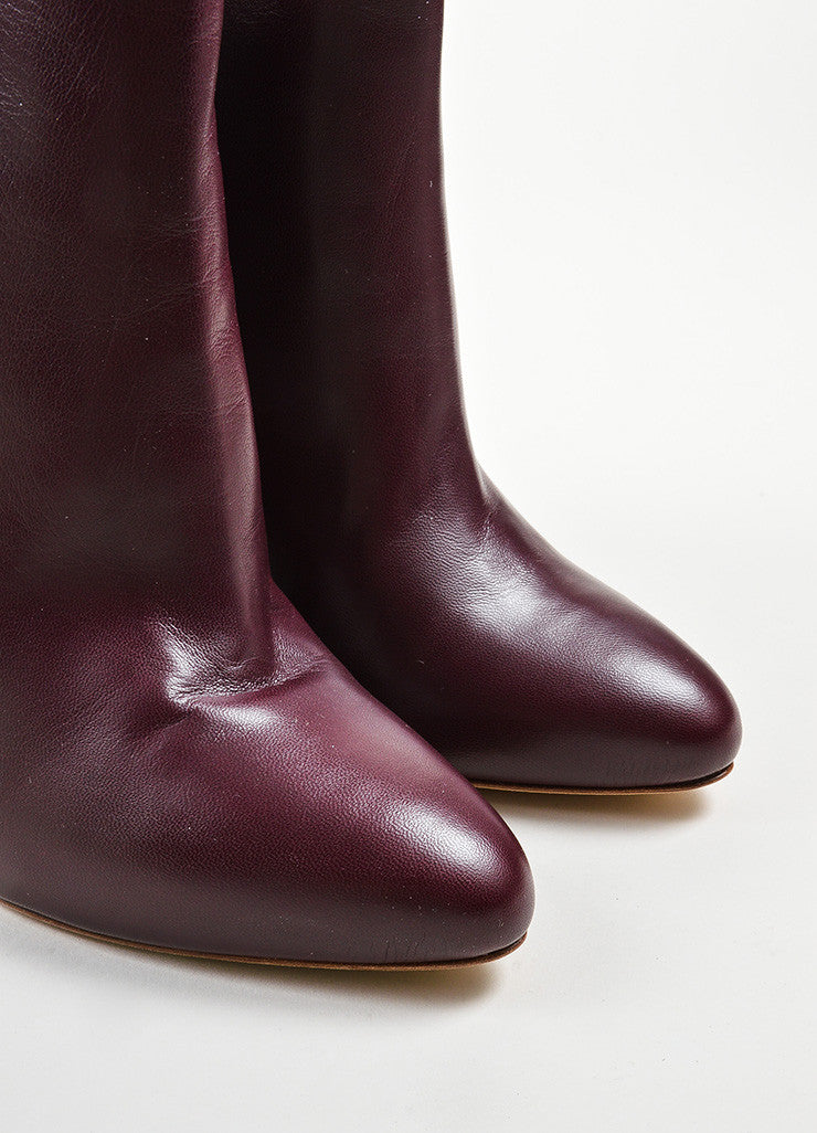 Maiyet Bordeaux Leather Almond Toe Pull On Ankle Booties Detail