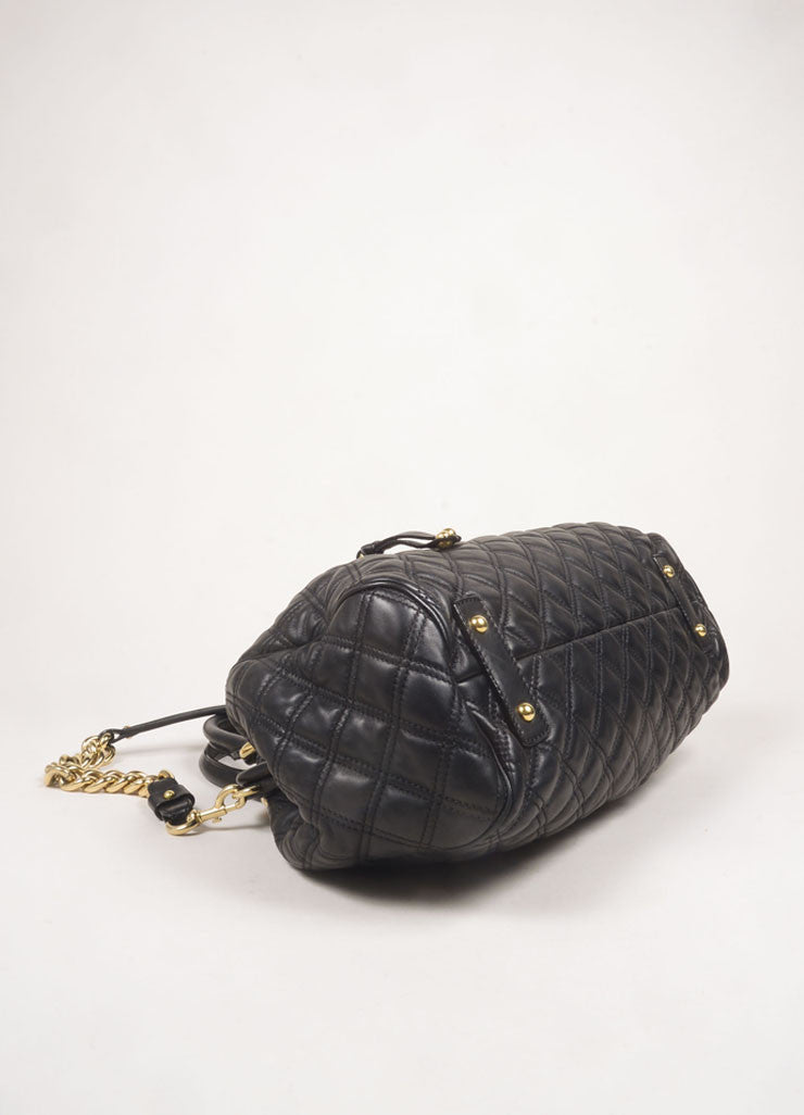 "Marc Jacobs Black Leather Quilted Chain Strap ""Stam"" Bag Bottom View"