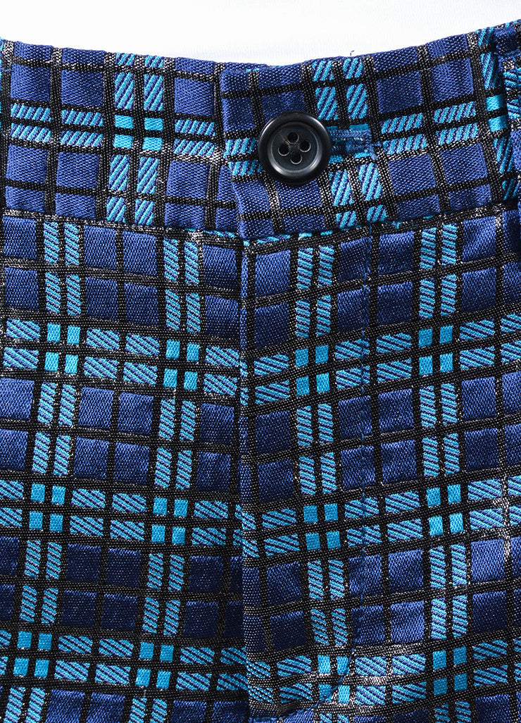 Marc Jacobs Blue and Black Metallic Silk Windowpane Plaid Cropped Trousers Detail