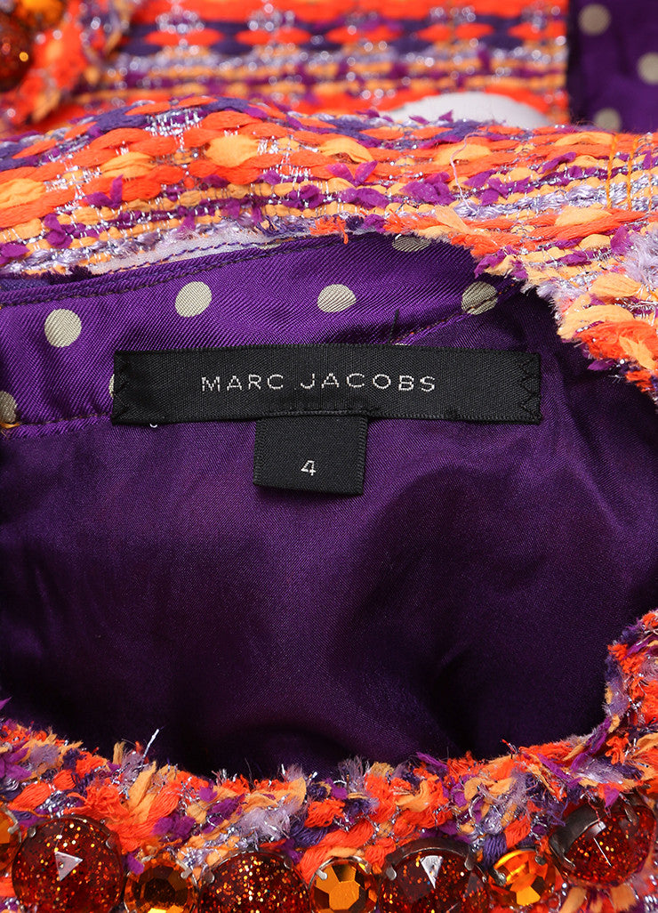 Marc Jacobs New With Tags Orange, Purple, and Multicolor Woven Tweed Belted Dress Brand