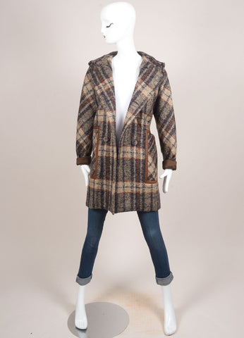 Martin Grant Tan, Navy, and Brown Wool Blend Leather Trimmed Plaid Coat Frontview