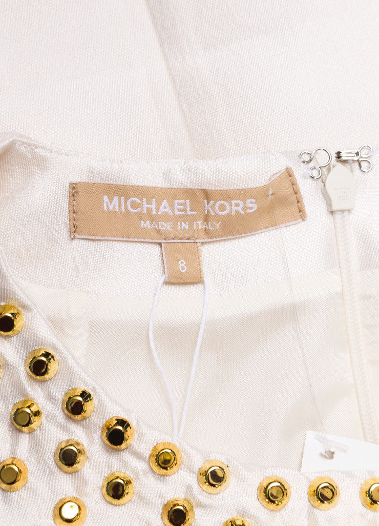 Michael Kors New With Tags White and Gold Wool and Silk Blend Studded Sleeveless Top Brand