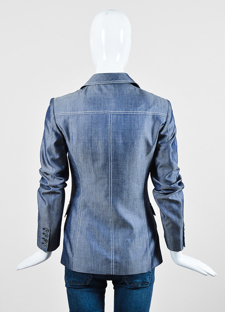 Michael Kors Navy Blue and White Silk Twill Denim Button Up Jacket Backview
