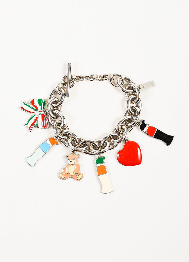 Silver Toned and Multicolor Moschino Enamel Chunky Chain Charm Bracelet Frontview