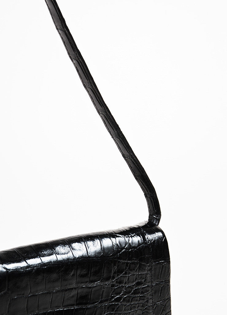 "Nancy Gonzalez Black Crocodile Leather ""Gotham"" Flap Clutch Shoulder Bag Detail 2"