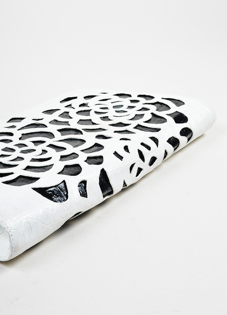 White and Black Nancy Gonzalez Crocodile Flower Laser Cut Clutch Bag Bottom View