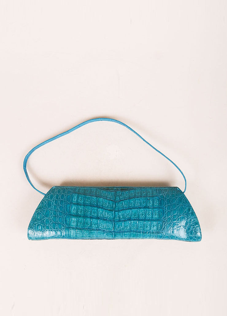 Nancy Gonzalez Teal Crocodile Trapezoid Clutch Bag Backview