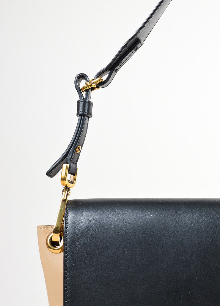 "Black and Tan Oscar de la Renta Leather ""Clara"" Stone Shoulder Bag Detail 2"