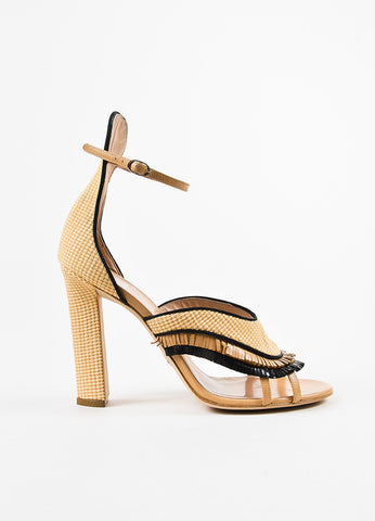 "Paula Cademartori Beige and Black Leather Raffia Fringed ""Nancy"" Sandals Sideview"