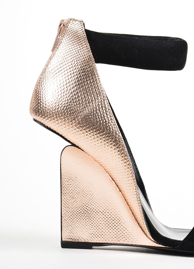 "Black Pierre Hardy Rose Gold Watersnake Suede ""Amanda"" Wedges Detail"