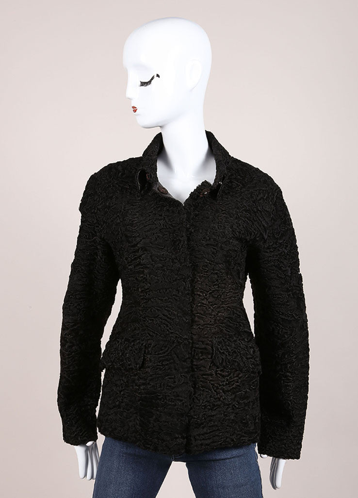 Prada Black Persian Lamb Fur and Leather Textured Long Sleeve Jacket Frontview