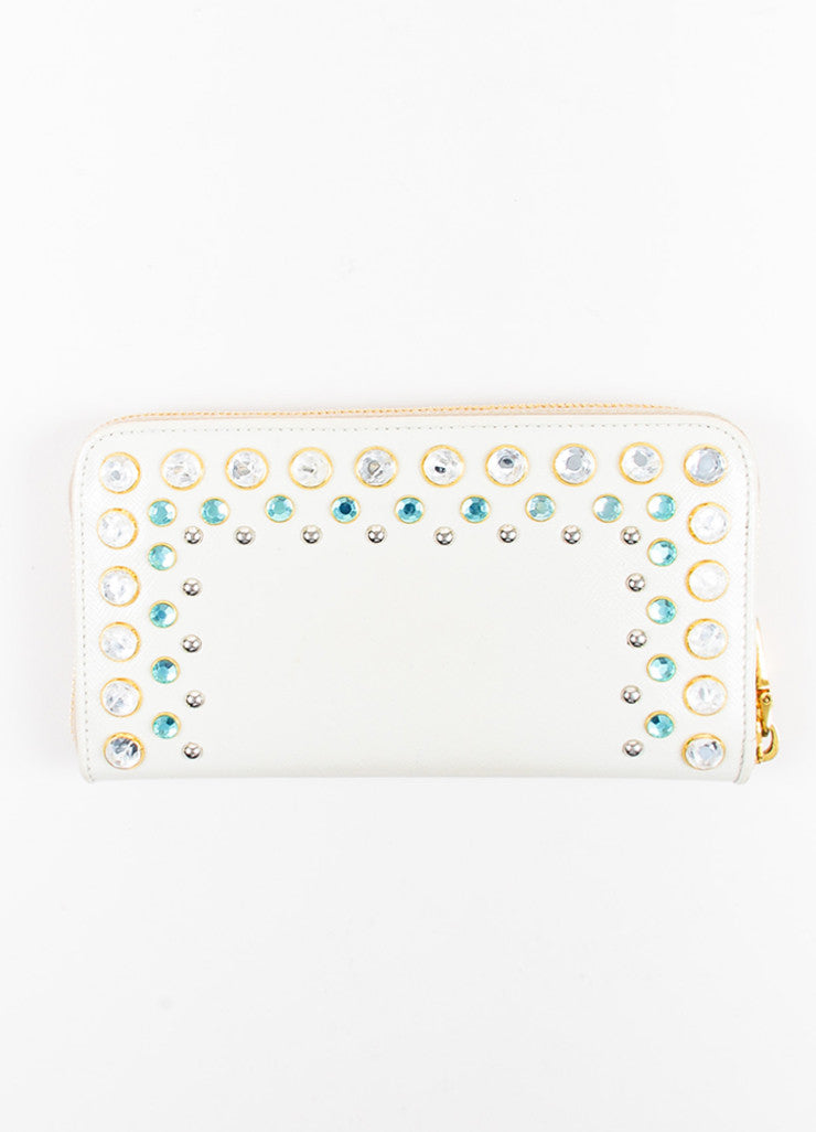 Prada Cream Saffiano Leather Rhinestone Stud Embellished Continental Wallet Backview