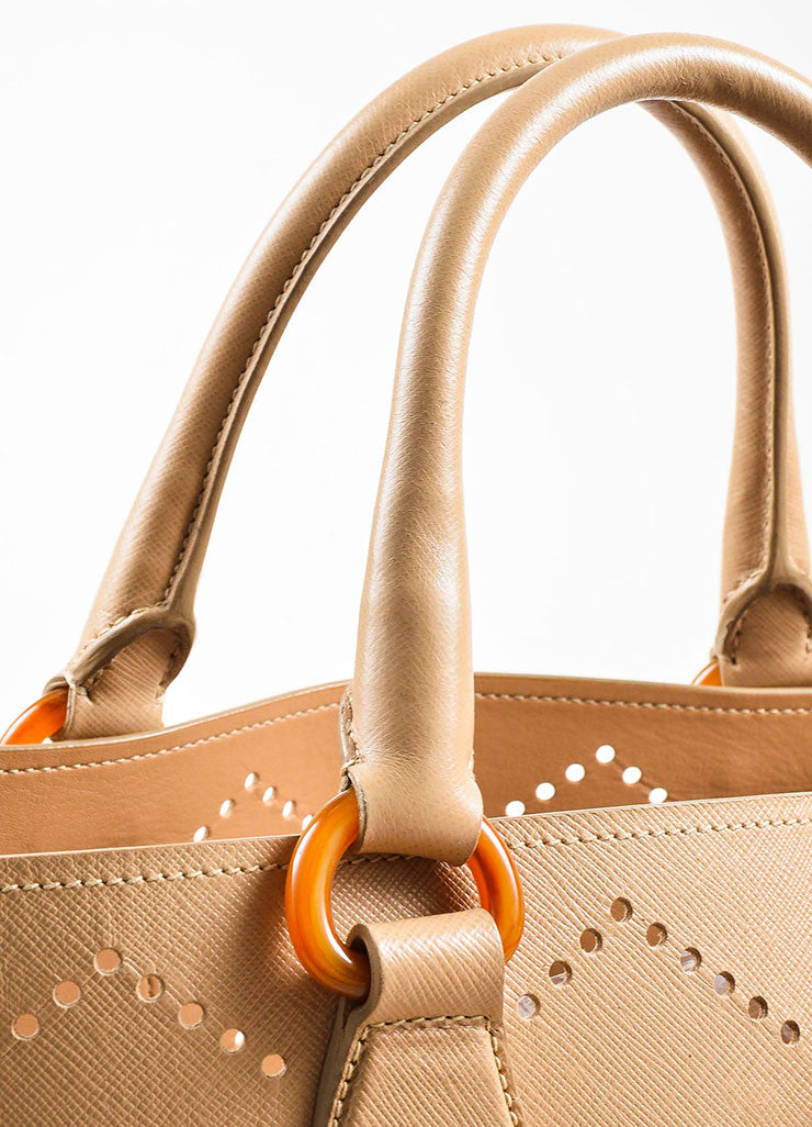 "Prada Nude Saffiano Leather Perforated ""Fori"" Tote Bag Detail 3"