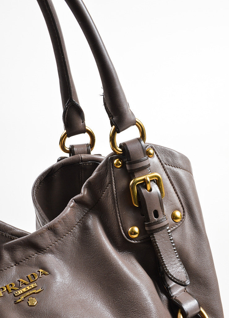 Taupe Prada Leather Bucket Bag Detail 2