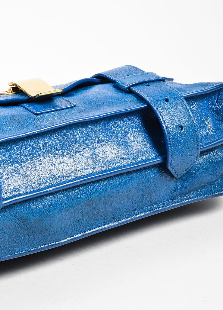 "Proenza Schouler Blue Leather Gold Toned Closure Belt Detail ""PS1"" Clutch Bag Bottom View"