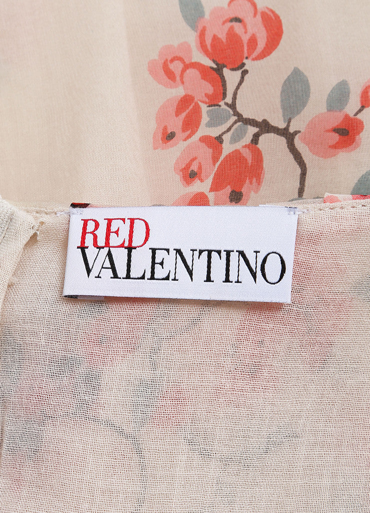Red Valentino New With Tags Cream and Pink Floral Print Silk Ruffle Sleeveless Shift Dress Brand