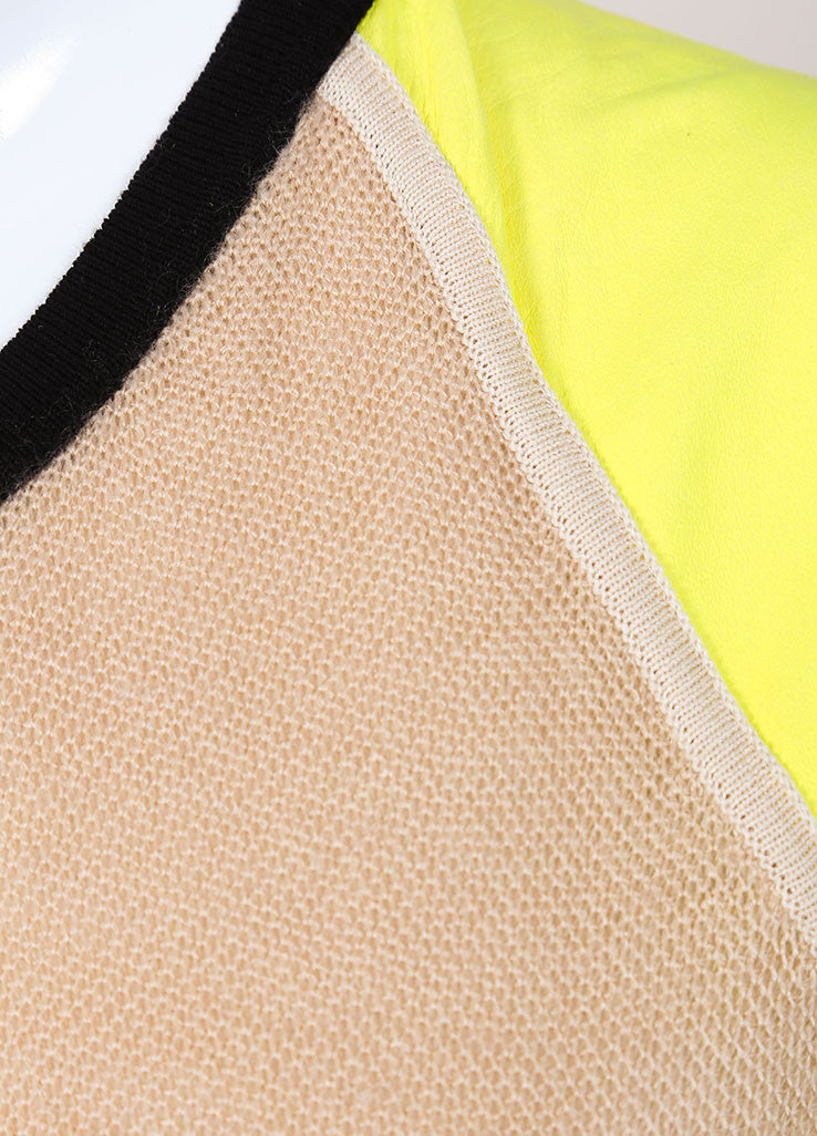 Reed Krakoff New With Tags Black, Tan, and Yellow Colorblock Cap Sleeve Knit Dress Detail